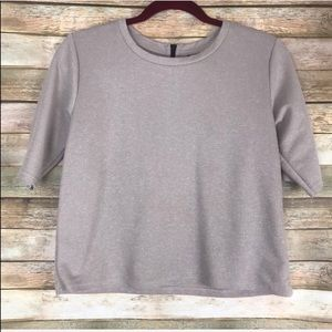 Topshop Cream Zip Back Cropped Tee Size 4